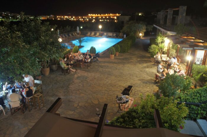 Pool area Night View Golden Apartments Agios Nikolaos Crete